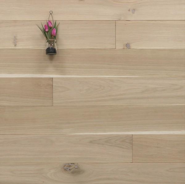 Holzdielen Eiche, roh bzw. unbehandelte Oberfläche, 20 x 140 mm, Langdielen von 1800 bis 2200 mm, massiv, optional in Fixlänge, Nut / Feder Verbindung