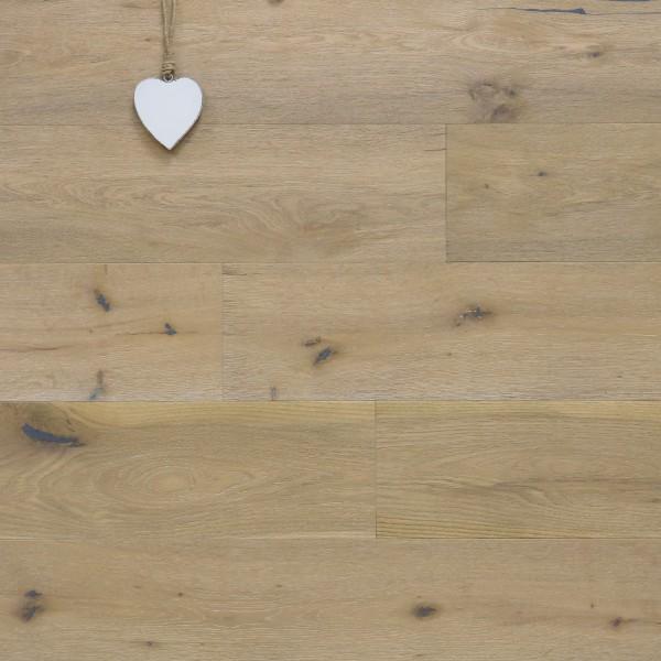 Parkett Eiche Westminster-Antikdiele S aus der Serie Vintage, Markant, angeräuchert, gebürstet, mit einem Naturöl weiß geölt, Drop Down Klick Verbindung, 14 x 189 x 1860 mm