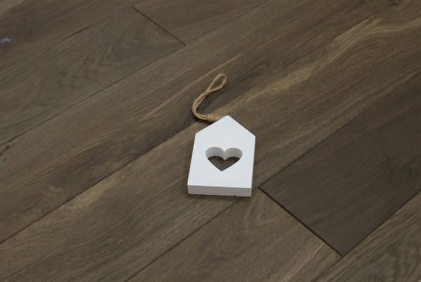 Holzdielen Räuchereiche, kerngeräuchert, roh bzw. unbehandelte Oberfläche, 20 x 140 mm, Systemlängen von 500 bis 2000 mm, massiv, Nut / Feder Verbindung