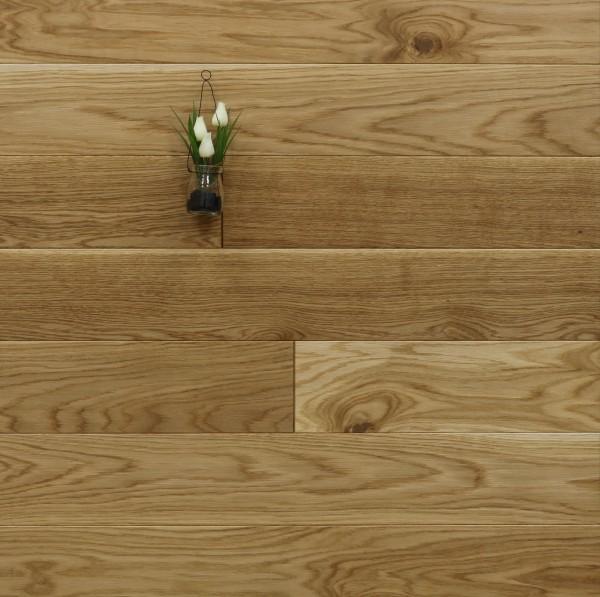 Holzdielen Eiche, mit einem Naturöl geölt, 20 x 140 mm, Langdielen von 1800 bis 2200 mm, optional in Fixlänge, massiv, Nut / Feder Verbindung