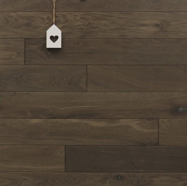 Holzdielen Räuchereiche, kerngeräuchert, roh bzw. unbehandelte Oberfläche, 15 x 130 mm, Systemlängen von 400 bis 1800 mm, massiv, Nut / Feder Verbindung
