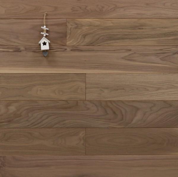 Holzdielen Nussbaum, Natur, 20 x 140 mm, Systemlängen von 500 bis 2000 mm, massiv, Kanten gefast, Nut / Feder Verbindung