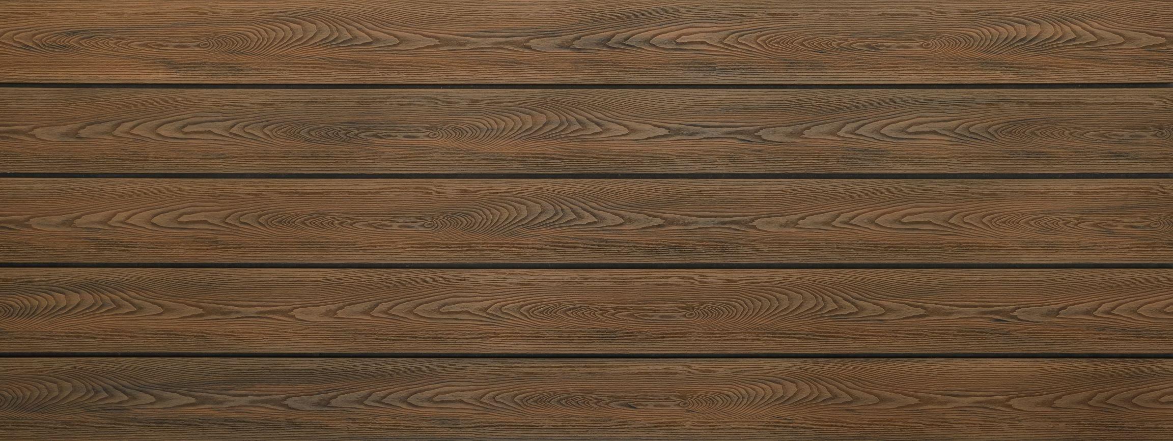WPC Dielen massiv, Oberfläche mit Struktur in Holzoptik, bicolor im Farbton Thermoeiche, Vollprofil, 22 x 143 bis 4800 mm für 8,40 €/lfm