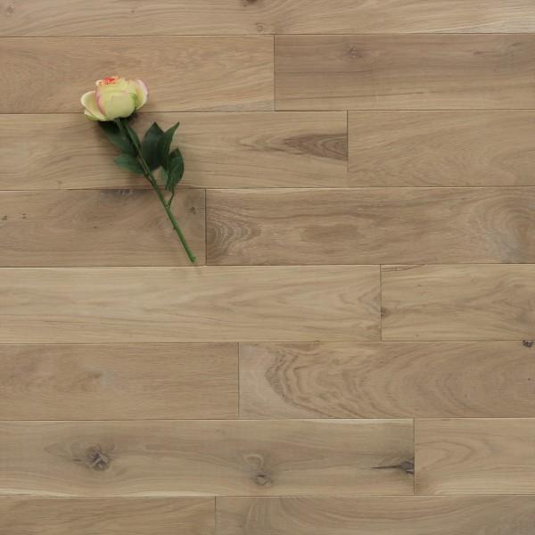 Holzdielen Eiche, mit einem Naturöl weiß geölt, 15 x 130 mm, Langdielen von 1800 bis 2200 mm, optional in Fixlänge, massiv, Nut / Feder Verbindung, Sonderanfertigung nach Kundenwunsch