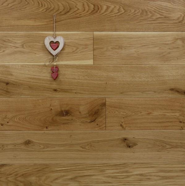 Holzdielen Eiche, seidenmatt lackiert, Systemlängen, massiv, Kanten gefast, Nut / Feder Verbindung, Sonderanfertigung nach Kundenwunsch