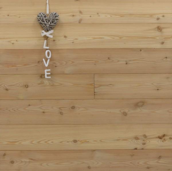 Holzdielen Lärche, Markant, 20 x 135 mm, Länge 2950 oder 3950 mm, massiv, Kanten gefast, Nut / Feder Verbindung