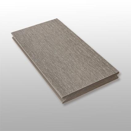 WPC Dielen massiv Tessera, Premium, ummantelt, Oberfläche gebürstet, Farbton grau, Vollprofil, 22 x 143 bis 4800 mm für 10,40 €/lfm
