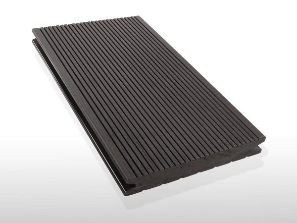 WPC Dielen massiv, Oberfläche fein gerillt, Farbton dunkelgrau, Vollprofil, 22 x 143 bis 4800 mm für 7,90 €/lfm