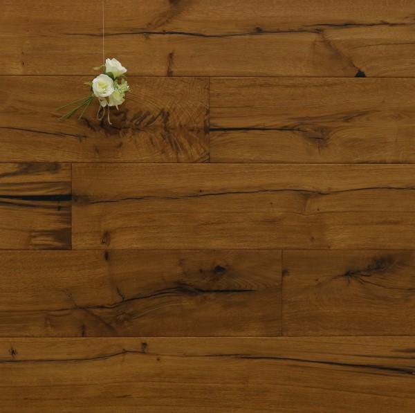 Parkett Räuchereiche Schubert aus der Serie Classic, Rustikal, handgehobelt, angeräuchert, mit einem Naturöl geölt, Drop Down Klick Verbindung, 14 x 190 x 1900 mm