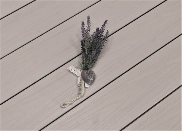 WPC Dielen ummantelt Artide, Premium, massiv, Oberfläche mit Struktur in Holzoptik, Farbton hellgrau, Vollprofil, 22 x 143 bis 4800 mm für 10,40 €/lfm