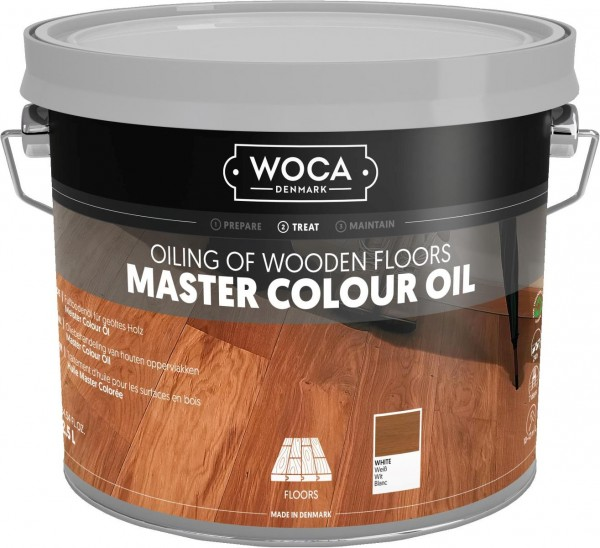 2,5 Liter WOCA Meister Bodenöl weiß, zur Ersteinpflege weiß geölter Holzböden