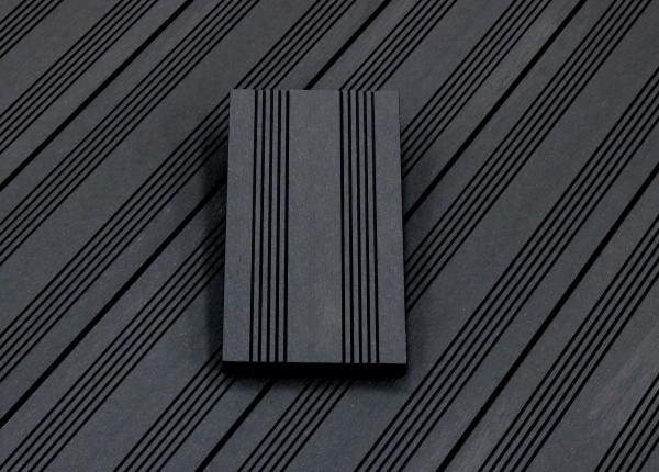 WPC Dielen massiv, Oberfläche mit französischem Profil, Farbton dunkelgrau, Vollprofil, 22 x 143 bis 4800 mm für 7,95 €/lfm
