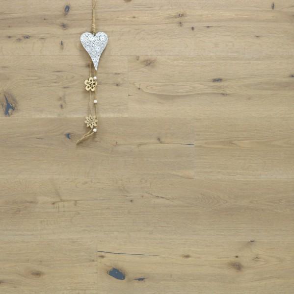 Parkett Eiche Capitol aus der Serie Nostalgie, Markant, handgehobelt, gebürstet, mit einem Naturöl weiß geölt, Drop Down Klick Verbindung, 15 x 189 x 1860 mm