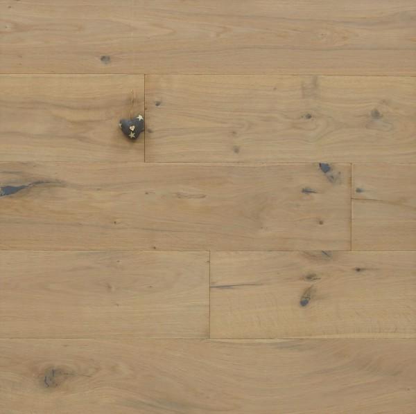 Parkett Eiche Groovy aus der Serie Slim, Rustikal, mit einem Naturöl weiß geölt, Nut / Feder Verbindung, 10 x 190 x 1900 mm