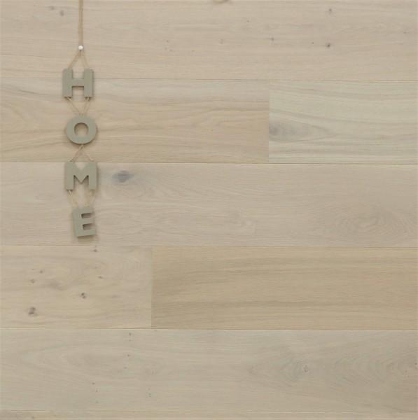 Parkett Eiche Dänemark, Markant, gebürstet, mit Masteröl weiß geölt, Soft Lock Klick Verbindung, 14 x 180 x 2200 mm