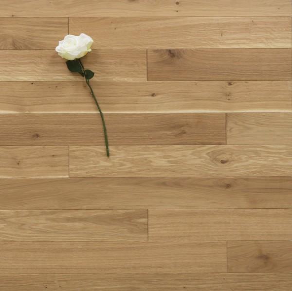 Holzdielen Eiche, mit einem Naturöl leicht weiß geölt, 10 x 100 mm, Systemlängen von 400 bis 1200 mm, massiv, Kanten gefast, Nut / Feder Verbindung, Sonderanfertigung nach Kundenwunsch