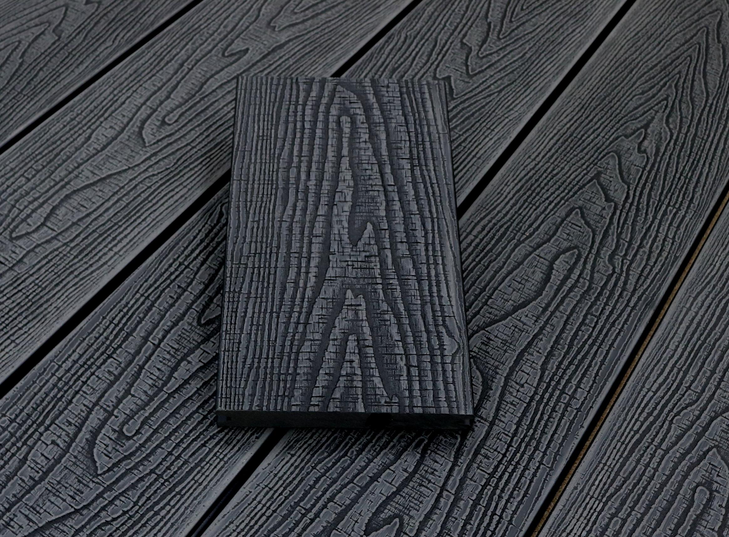WPC Dielen massiv, Oberfläche mit Struktur in Holzoptik sägerau, Farbton dunkelgrau, Vollprofil, 22 x 143 bis 4800 mm für 7,95 €/lfm