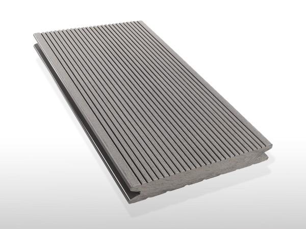 WPC Dielen massiv, Oberfläche fein gerillt, Farbton hellgrau, Vollprofil, 22 x 143 bis 4800 mm für 7,90 €/lfm