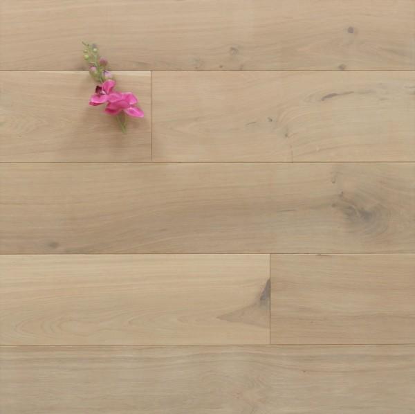 Schlossdielen Eiche, 20 x 180 / 200 mm von 1800 bis 5100 mm, aus massivem Holz, mit einem Naturöl weiß geölt, Kanten gefast, Nut / Feder Verbindung, Sonderanfertigung nach Kundenwunsch