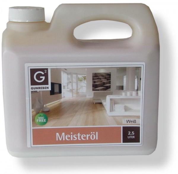 Meisteröl weiß von Gunreben, Kanister mit 2,5 Liter, zur Grundbehandlung von Holzböden