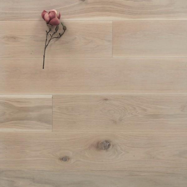 Holzdielen Eiche, mit einem Naturöl weiß geölt, 20 x 180 mm, Systemlängen von 500 bis 2000 mm, massiv, Kanten gefast, Nut / Feder Verbindung