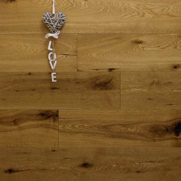 Parkett Eiche Bellevue-Antikdiele S aus der Serie Vintage, Markant, angeräuchert, mit einem Naturöl geölt, Drop Down Klick Verbindung, 14 x 189 x 1860 mm