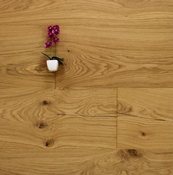 Schlossdielen Eiche Nizza, 20 x 320 bis 5000 mm, Mehrschicht Aufbau, mit einem Naturöl geölt, Kanten gefast, Nut / Feder Verbindung