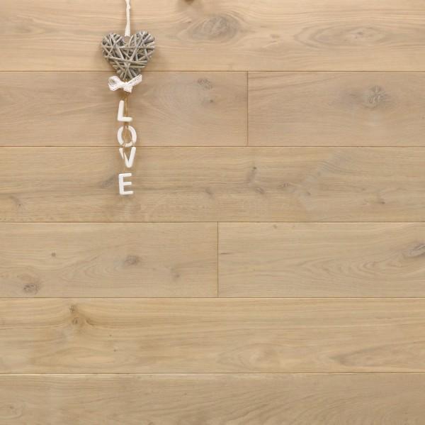 Holzdielen Eiche, mit Osmo Hartwachsöl 5215 weiß geölt, 21 x 180 / 200 mm, Schlossdielen von 2600 bis 5000 mm, Abmessungen nach Ihren Vorgaben, massiv, Kanten gefast, Nut / Feder Verbindung, Sonderanfertigung nach Kundenwunsch