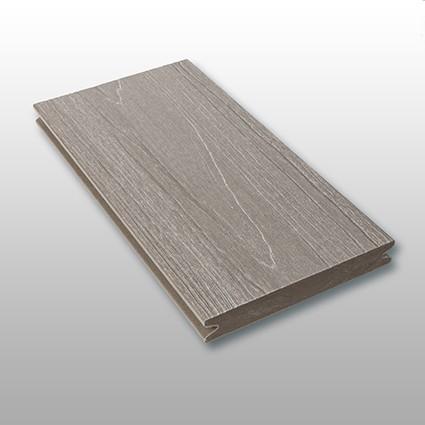 WPC Dielen massiv Tessera, Premium, ummantelt, Oberfläche mit Struktur in Holzoptik, Farbton grau, Vollprofil, 22 x 143 bis 4800 mm für 10,40 €/lfm