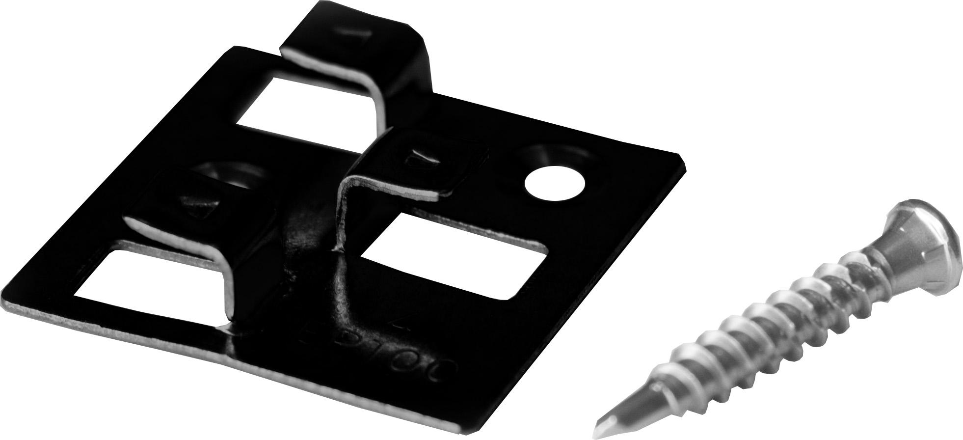 100 WPC Montage Clips mit 4 mm Fugenbreite aus Edelstahl von MEFO, schwarz, inkl. selbstbohrenden Schrauben, empfohlen für ca. 35 lfm bzw. 5 m²