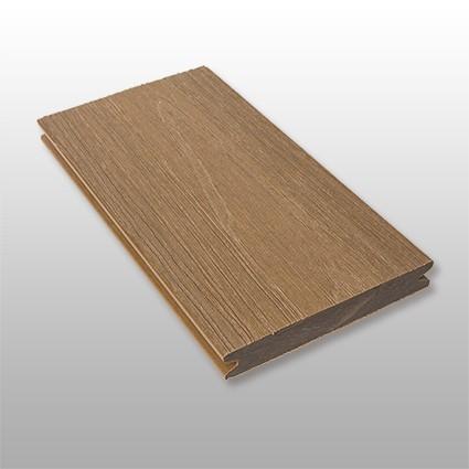 WPC Dielen massiv Terra, Premium, ummantelt Oberfläche mit Struktur in Holzoptik, Farbton dunkelbraun, Vollprofil, 22 x 143 bis 4800 mm für 10,40 €/lfm