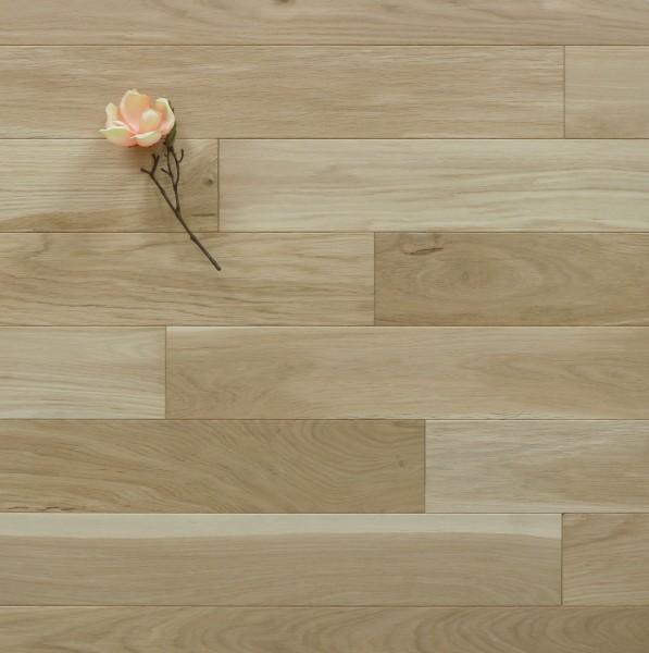 Holzdielen Eiche, roh bzw. unbehandelte Oberfläche, 15 x 130 mm, Langdielen von 1800 bis 2200 mm, optional in Fixlänge, massiv, Nut / Feder Verbindung