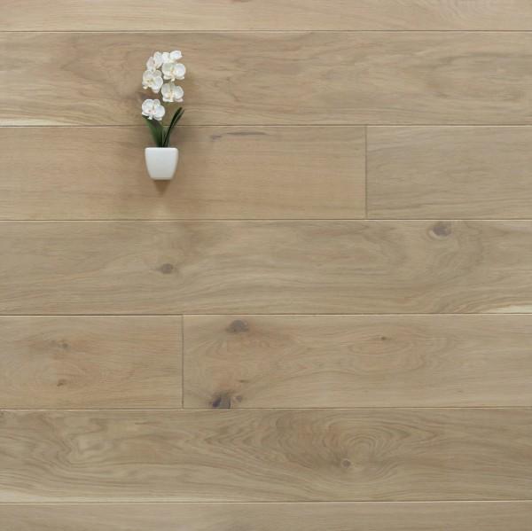 Holzdielen Eiche, mit einem Naturöl weiß geölt, 20 x 160 mm, Systemlängen von 500 bis 2000 mm, massiv, Kanten gefast, Nut / Feder Verbindung, Sonderanfertigung nach Kundenwunsch