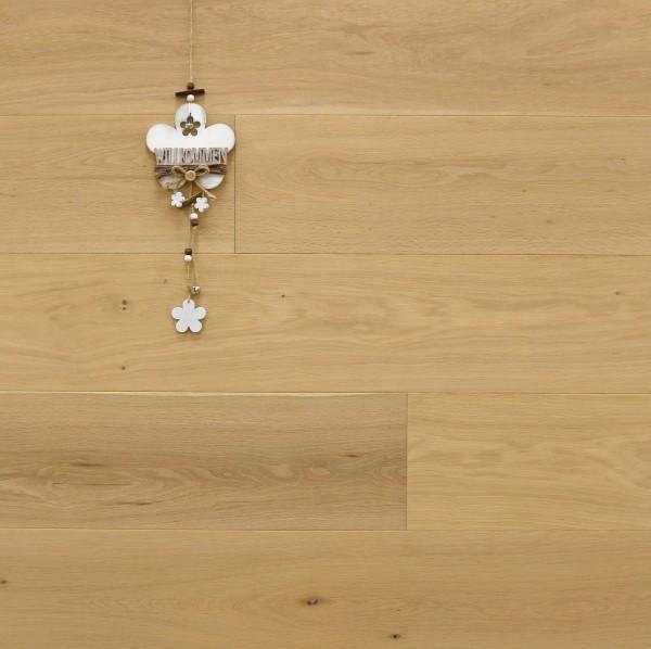 Parkett Eiche Bella aus der Serie Italia, Natur, mit WOCA Naturöl leicht weiß geölt, Drop Down Klick Verbindung, Sonderanfertigung nach Kundenwunsch, 14 x 190 x 1900 mm
