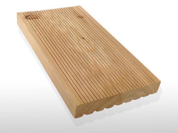 Terrassendielen Sibirische Lärche, AB Sortierung, 26 x 143 bis 6000 mm, fein gerillt für 3,70 €/lfm