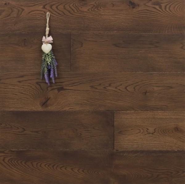 Parkett Eiche Bras aus der Serie Provence, gebürstet, mit Rubio Monocoat R306 Chocolate geölt, Välinge 5G Klick Verbindung, Sonderanfertigung nach Kundenwunsch, 14 x 190 (220) x 1900 (2200) mm