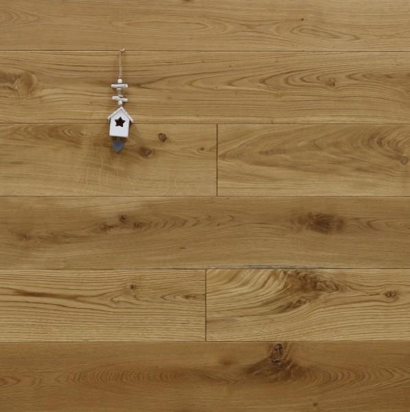 Holzdielen Eiche, mit Osmo Hartwachsöl 5261 geölt, Systemlängen, massiv, Kanten gefast, Nut / Feder Verbindung, Sonderanfertigung nach Kundenwunsch