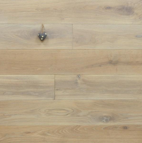Holzdielen Eiche, mit Rubio Monocoat R308 cotton white geölt, Systemlängen, massiv, Kanten gefast, Nut / Feder Verbindung, Sonderanfertigung nach Kundenwunsch