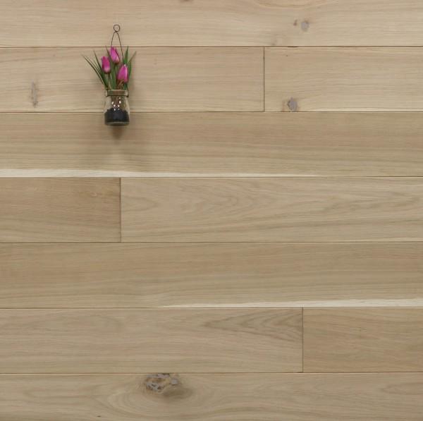 Holzdielen Eiche, roh bzw. unbehandelte Oberfläche, 20 x 140 mm, Systemlängen von 500 bis 2000 mm, massiv, Kanten gefast, Nut / Feder Verbindung
