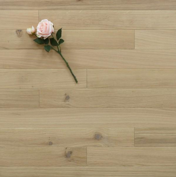 Holzdielen Eiche, mit einem Naturöl weiß geölt, 10 x 100 mm, Systemlängen von 400 bis 1200 mm, massiv, Kanten gefast, Nut / Feder Verbindung