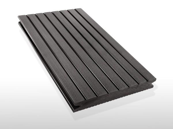 WPC Dielen massiv, Oberfläche grob genutet, Farbton dunkelgrau, Vollprofil, 22 x 143 bis 4800 mm für 7,90 €/lfm