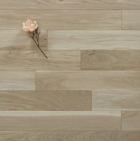 Holzdielen Eiche, roh bzw. unbehandelte Oberfläche, 15 x 130 mm, Systemlängen von 400 bis 1800 mm, massiv, Kanten gefast, Nut / Feder Verbindung