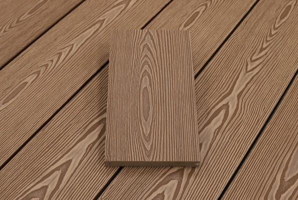 WPC Dielen massiv, Oberfläche mit 3D Struktur in Holzoptik, Farbton hellbraun, Vollprofil, 22 x 143 bis 4800 mm für 7,95 €/lfm