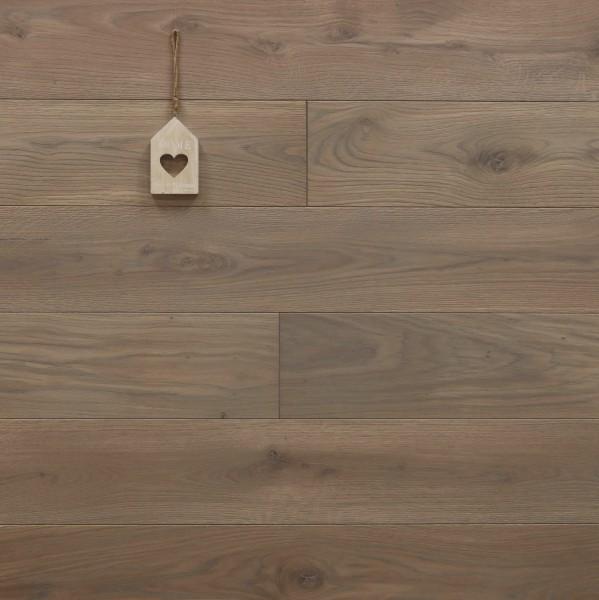 Schlossdielen Eiche, 21 x 180 / 200 mm von 2600 bis 5000 mm, aus massivem Holz, Abmessungen nach Ihren Vorgaben, mit Rubio Monocoat R310 gris belge geölt, Kanten gefast, Nut / Feder Verbindung, Sonderanfertigung nach Kundenwunsch