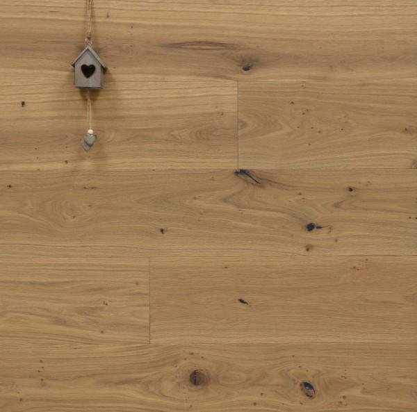Parkett Eiche Gourdon aus der Serie Provence, mit Rubio Monocoat R326a Smoke leicht weiß geölt, gebürstet, Välinge 5G Klick Verbindung, Sonderanfertigung nach Kundenwunsch, 14 x 190 (220) x 1900 (2200) mm