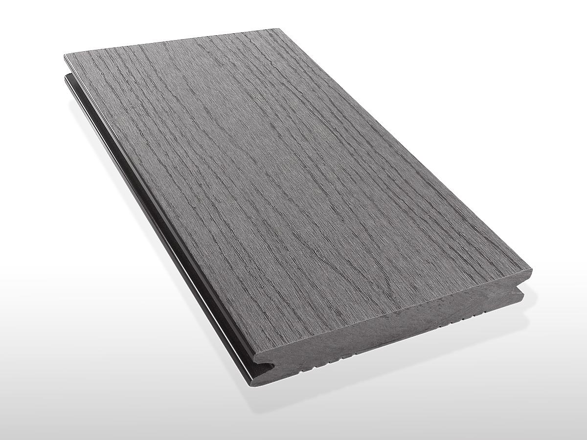 WPC Terrassendielen massiv, Oberfläche mit Struktur in Holzoptik, Farbton hellgrau, 22 x 143 bis 4800 mm für 7,90 €/lfm