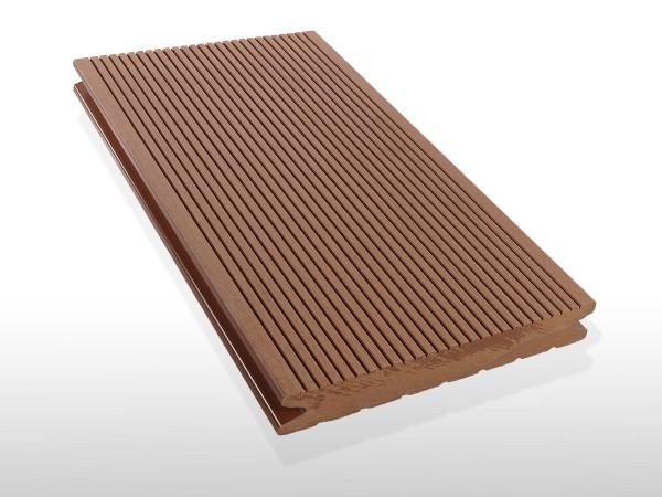 WPC Dielen massiv, Oberfläche fein gerillt, Farbton hellbraun, Vollprofil, 22 x 143 bis 4800 mm für 7,90 €/lfm