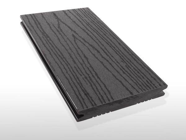 WPC Dielen massiv, Oberfläche mit Struktur in Holzoptik, Farbton dunkelgrau, Vollprofil, 22 x 143 bis 4800 mm für 7,90 €/lfm