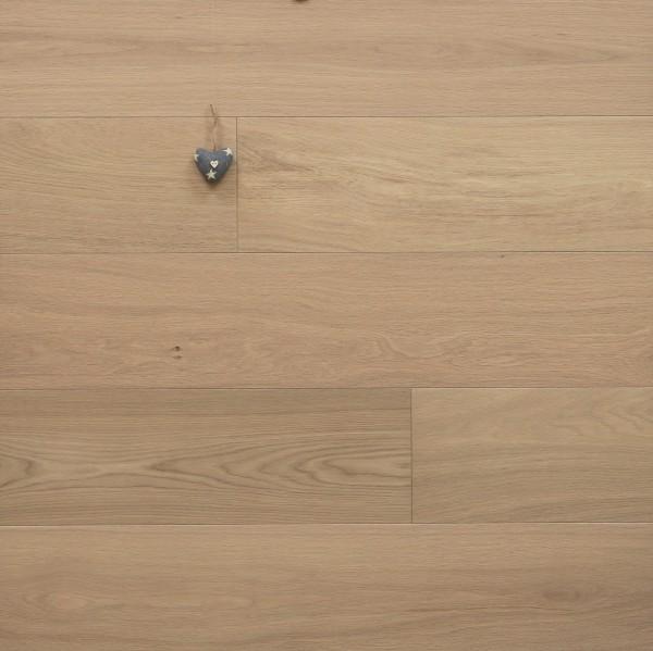 Parkett Eiche Deluxe aus der Serie Villa, Select, gebürstet, mit Naturöl weiß geölt, Drop Down Klick Verbindung, Sonderanfertigung, 14 x 190 x 1900 mm