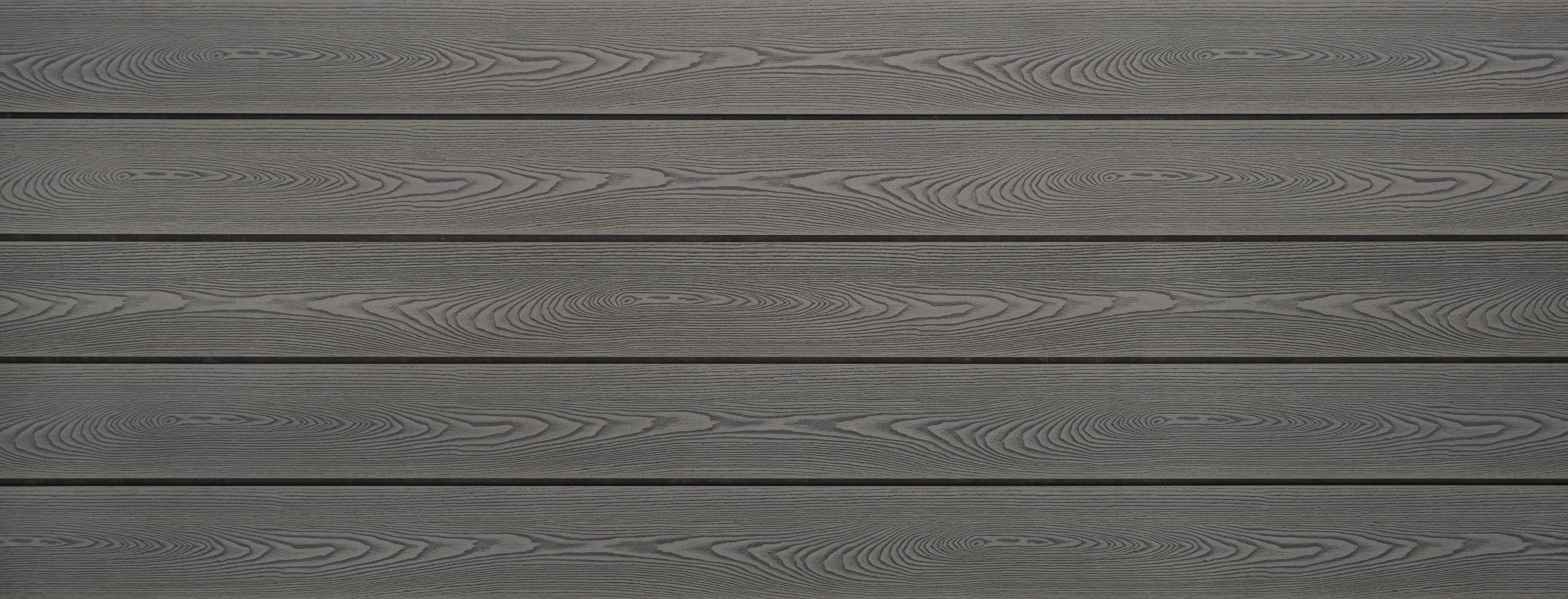 WPC Dielen massiv, Oberfläche mit Struktur in Holzoptik, Farbton grau, Vollprofil, 22 x 143 bis 4800 mm für 7,99 €/lfm